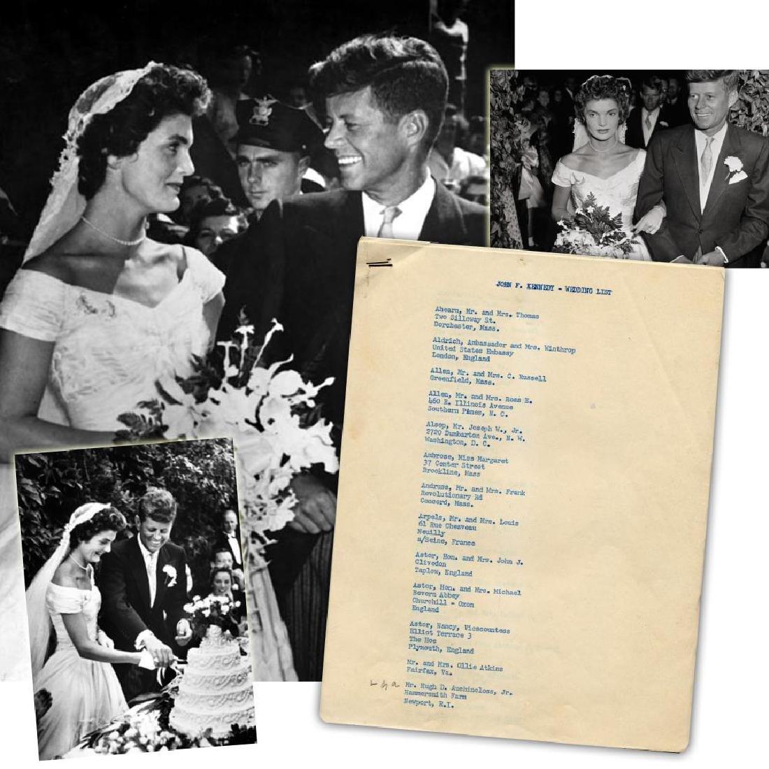 John F. & Jackie Kennedy Original Wedding Guest List