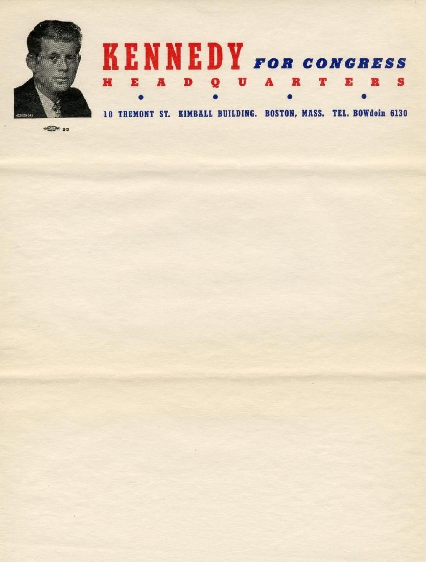 John F. Kennedy 1946 rare Congressional Letterhead