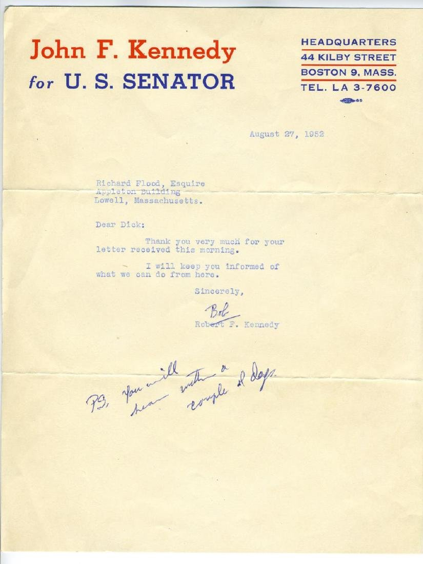 Robert F. Kennedy Writes Family Friend and Political