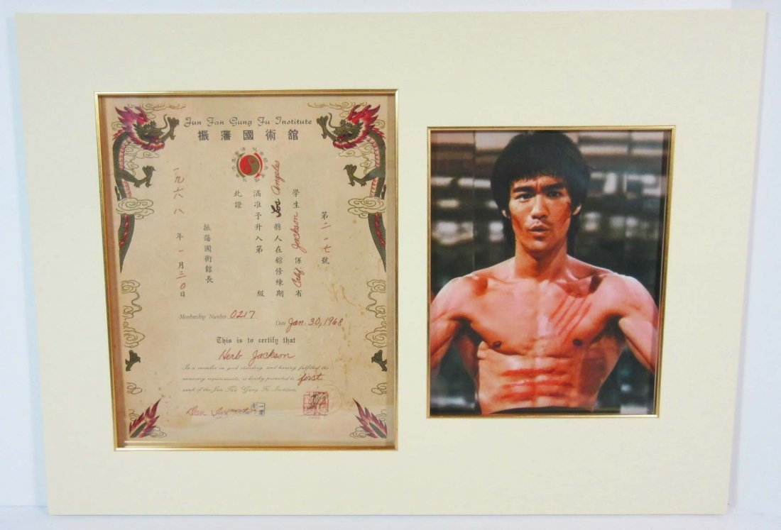 Bruce Lee Signed Document Promoting Herb Jackson to