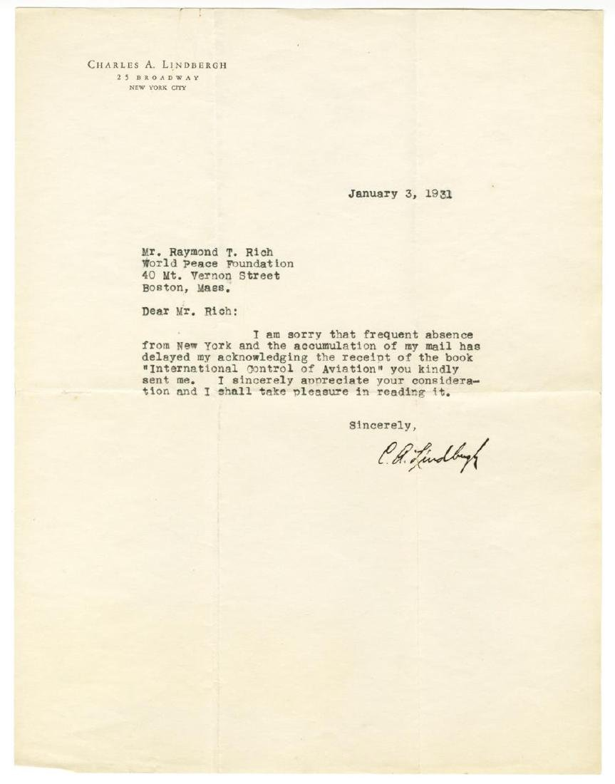 Lindbergh Signed TLS in 1931, to a World Peace