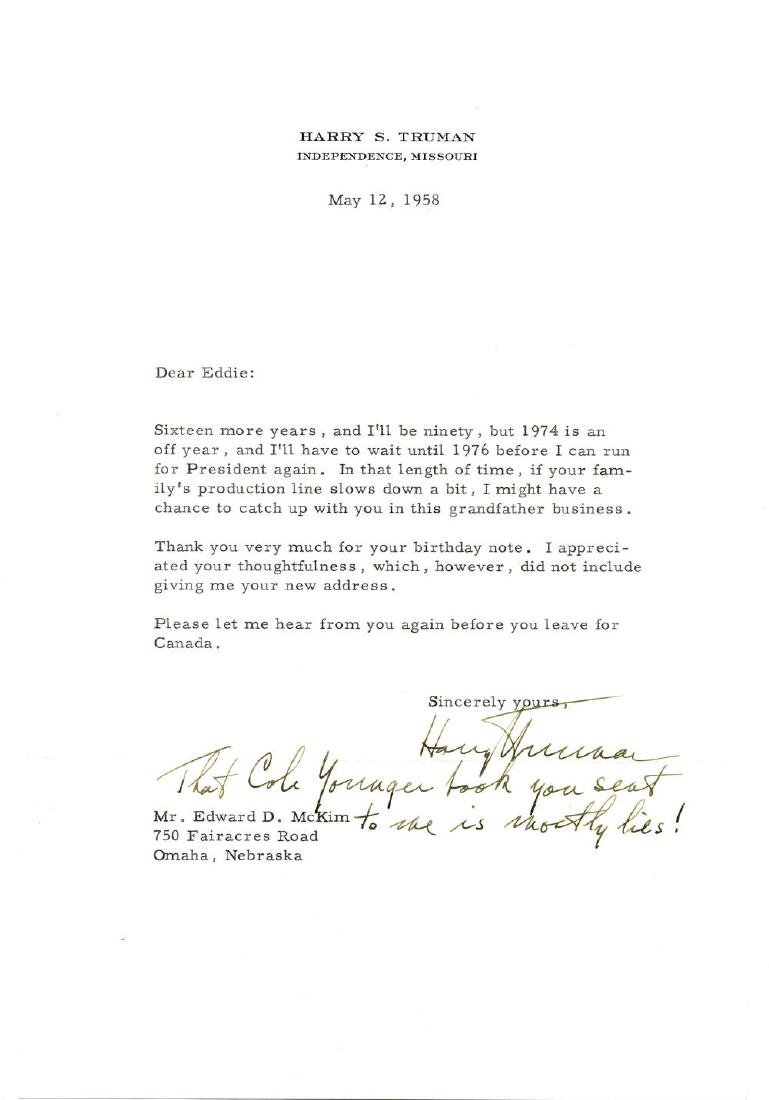 Humorous Harry Truman Letter with Postscript about Cole