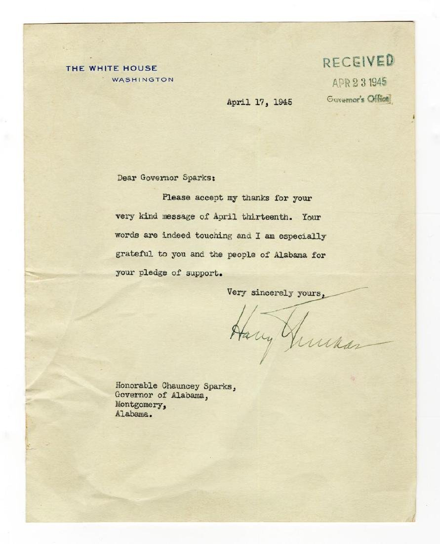 Early President Truman Letter Thanking the Governor and
