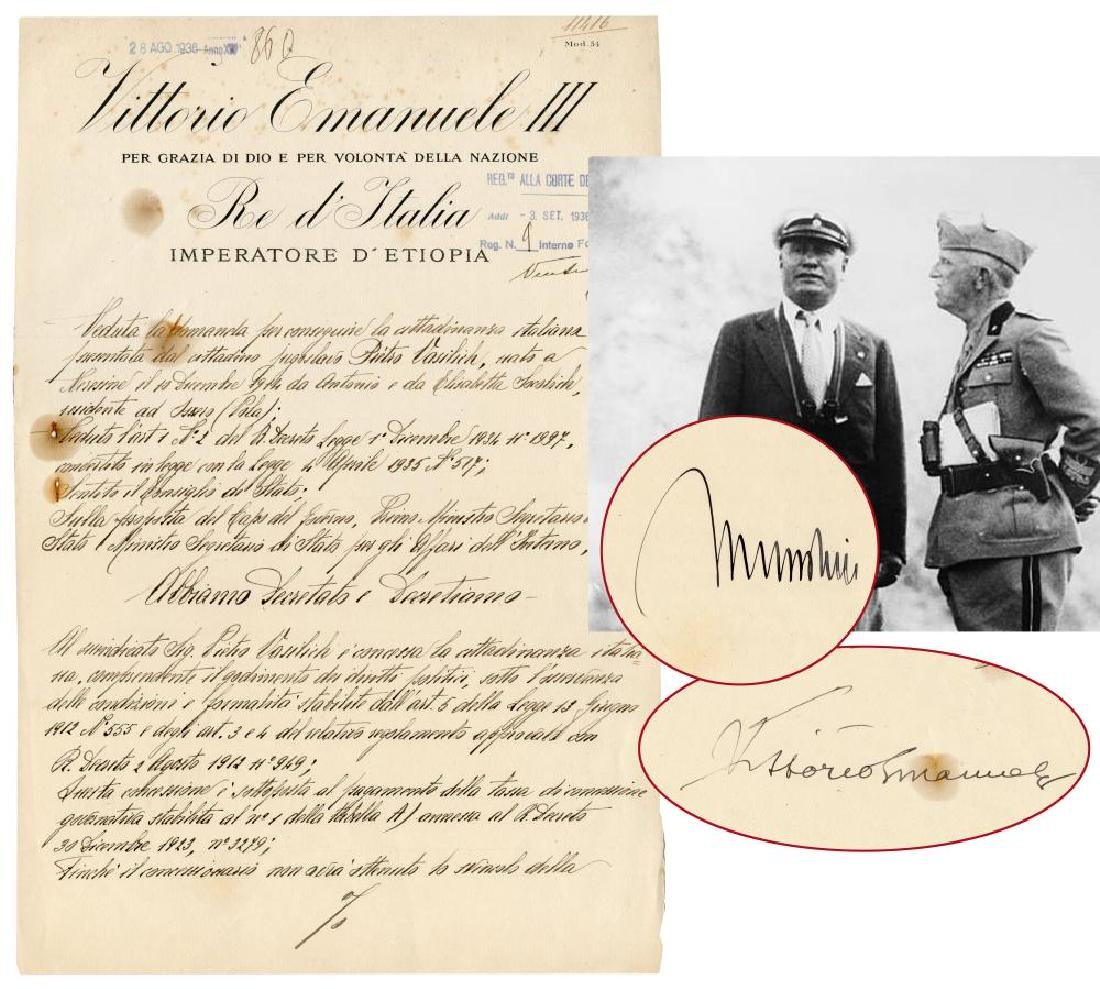 Victor Emmanuel III and Benito Mussolini Signed