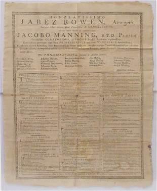 1792 Brown University Broadside Advertised as Rhode