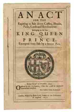 Charles I 1652 Period Booklet on The Exposing to Sale