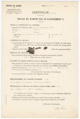 Scarce Marie Curie Signed Document From Her Institut