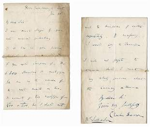 Charles Darwin Autograph Letter Signed While Working