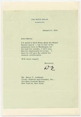 President Eisenhower TLS Ill speak to Dick Nixon