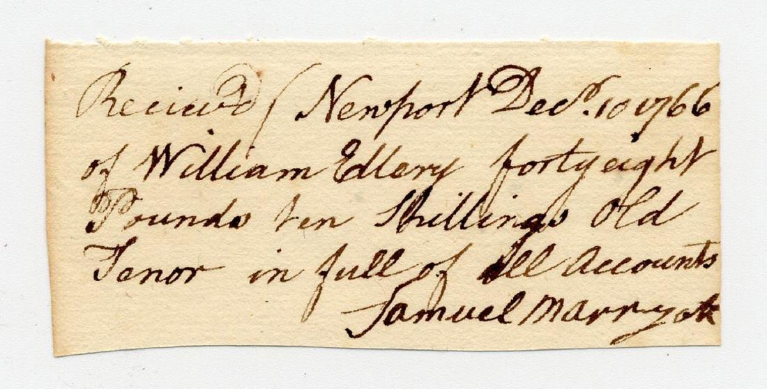 William Ellery, RI Declaration Signer, Signed Colonial
