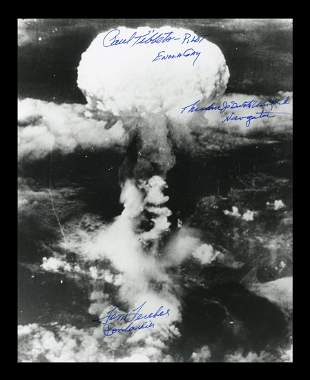 Hiroshima Mushroom Cloud Photo 3x Signed by Mission