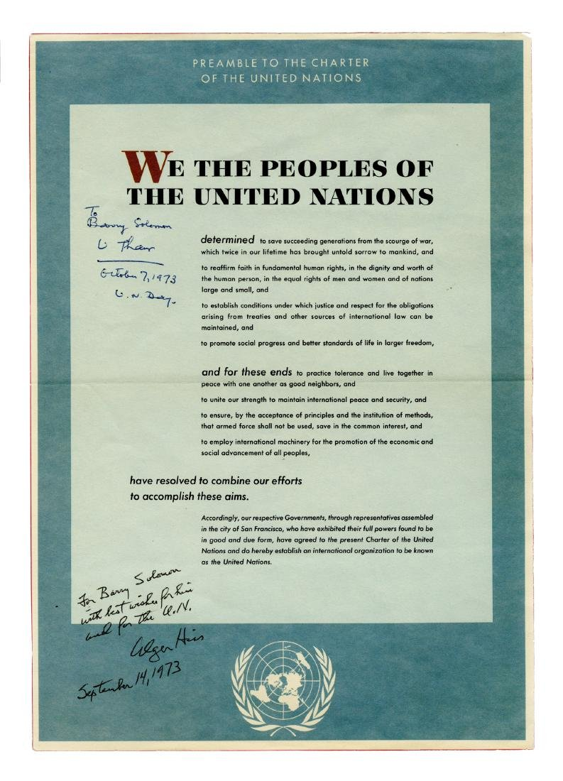 Printed Preamble to the Charter of the United Nations,