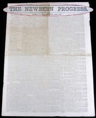 Rare Yankee Occupation Newspaper from New Bern NC
