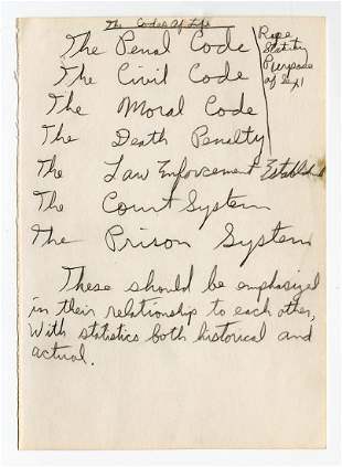 Eldridge Cleaver Autographed Notes Reflecting on The