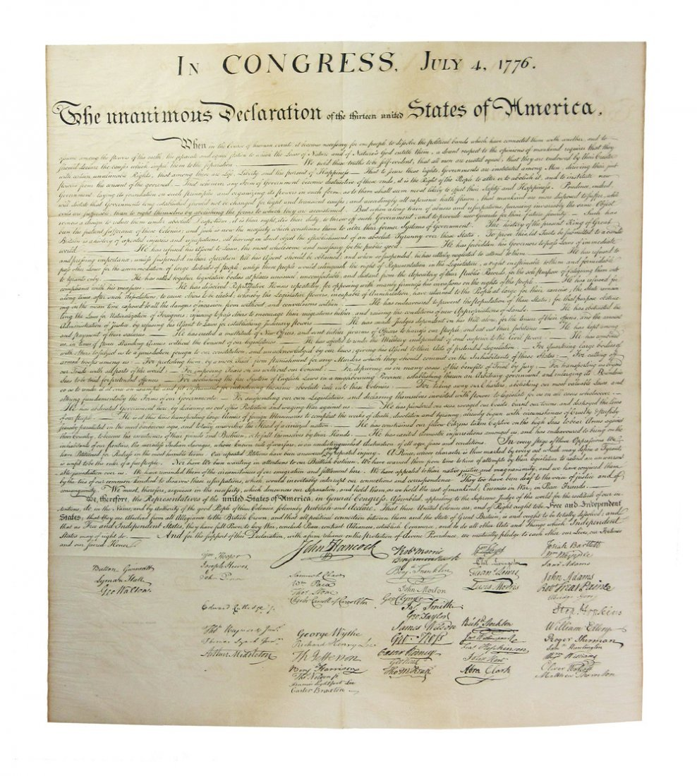 Rare Peter Force Engraving of the Declaration of