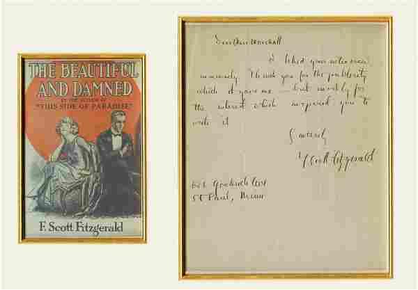 F. Scott Fitzgerald Signed Letter to Journalist Miss