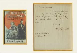 F Scott Fitzgerald Signed Letter to Journalist Miss