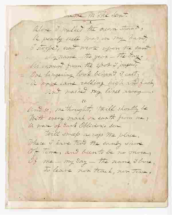"""Hannah F. Gould, Signed and Autographed Poem """"Name In"""