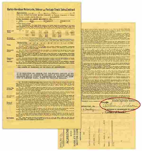 Harley-Davidson 1930 CT Dealership Contract Signed by