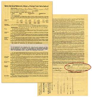 HarleyDavidson 1930 CT Dealership Contract Signed by
