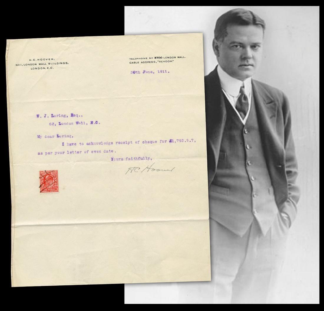 Herbert Hoover, Freelance Mining Consultant, TLS Re: