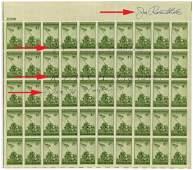 Iwo Jima Commemorative Stamp Block 4x Signed by Flag