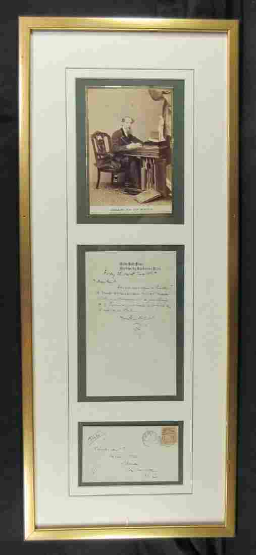 Framed Dickens ALS with signed envelope and valuable