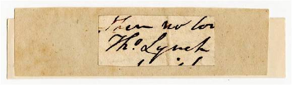 Extremely rare signature of Thomas Lynch, Signer of the