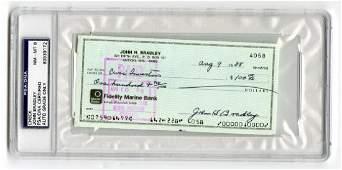 IWO Jima flag raiser John Bradley, signed check,