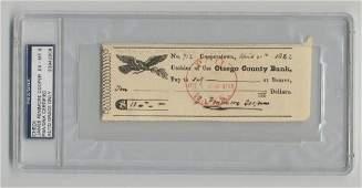 James Fenimore Cooper endorsed check, PSA/DNA slabbed