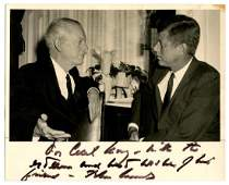 John F. Kennedy signed and inscribed photo as President