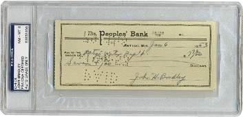 John H. Bradley, Iwo Jima flag raiser, signed check,
