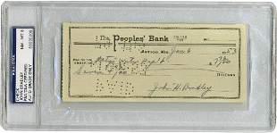 John H Bradley Iwo Jima flag raiser signed check
