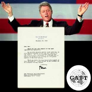 Bill Clinton TLS Re General Agreement on Tariffs and