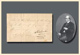 Benjamin Disraeli Signed Pass to the House of Commons