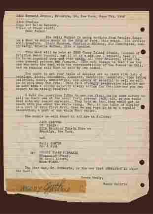 Woody Guthrie TLS to Asch Studios Regarding the Hoot