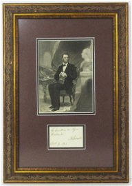 Abraham Lincoln Signed Note to General Halleck