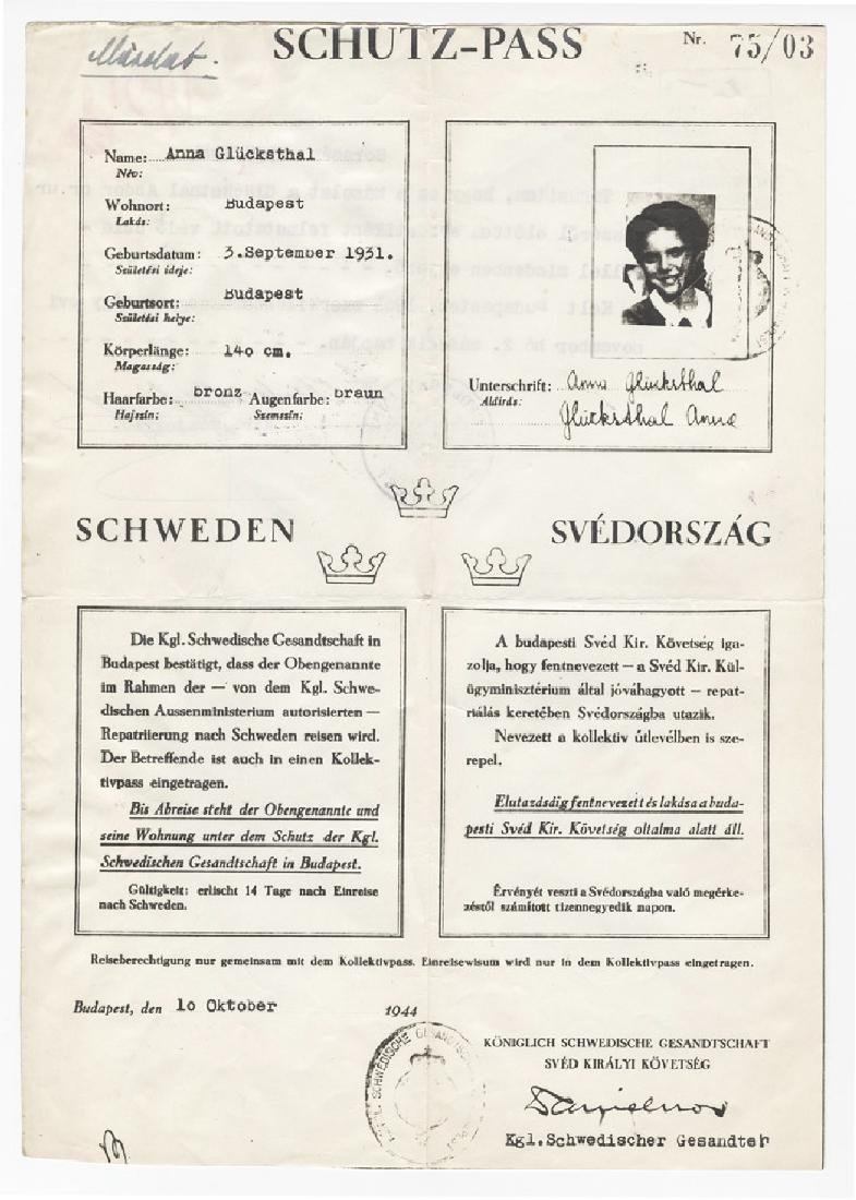 Raoul Wallenberg Schutz-Pass Documentation with - 2