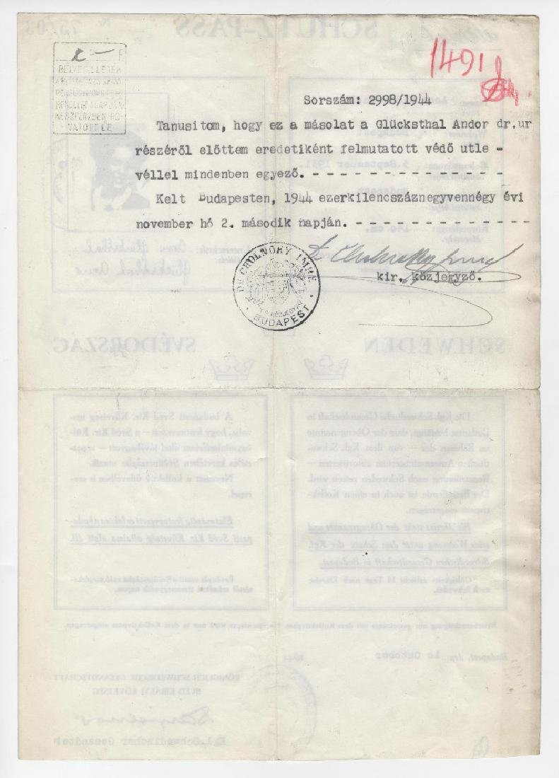 Raoul Wallenberg Schutz-Pass Documentation with - 3