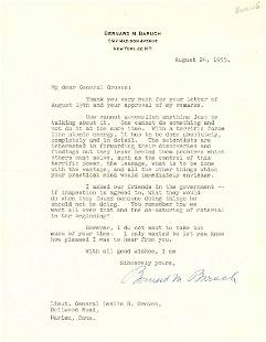 Bernard Baruch to Leslie Groves Discusses Problems of
