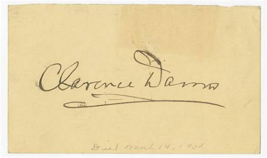 Clarence Darrow Enormous Signature on Verso of a