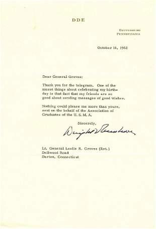 Eisenhower Thanks Leslie Groves for Message Sent on