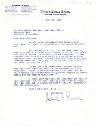 Senator to Groves on Sharing on Atomic Weapons We