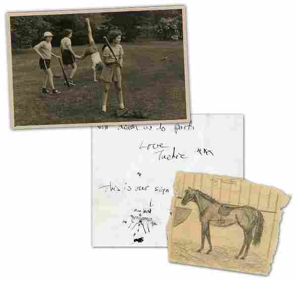 Jackie Kennedy Early Illustrated Letter with Additional