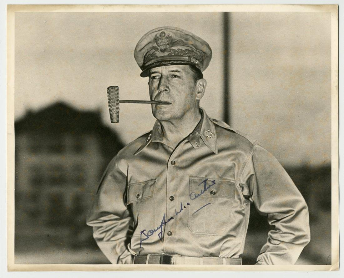 Douglas MacArthur Iconic Corncob Pipe Signed Photograph