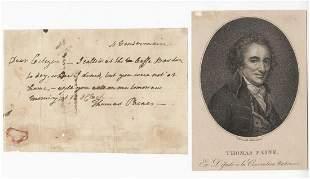 Thomas Paine Writes to Ethan Allen, Scarce Letter