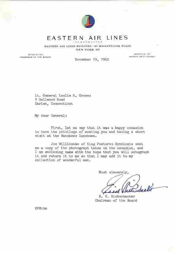 Eddie Rickenbacker Letter to General Groves of