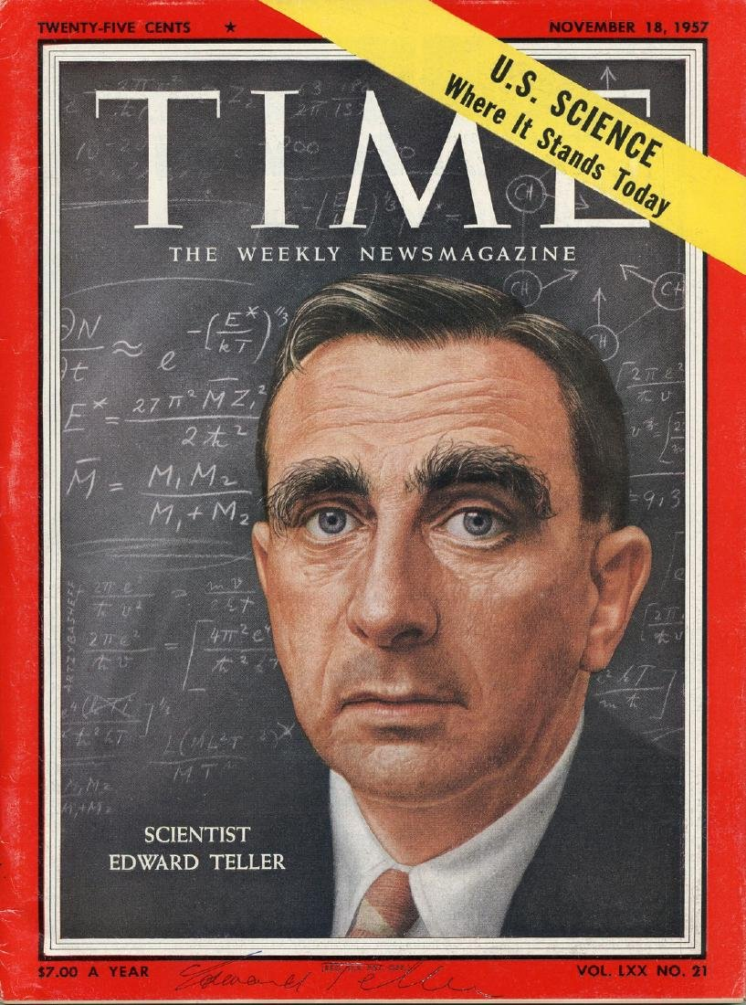 """Edward Teller, """"Father of H-Bomb,"""" Signed """"Time"""" Cover"""