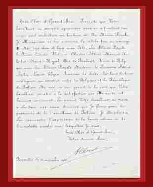 Belgian King Albert I Writes a Letter of State