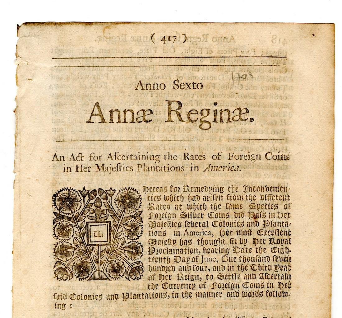 Queen Anne 1708, Coins in the American Colonies! - 2